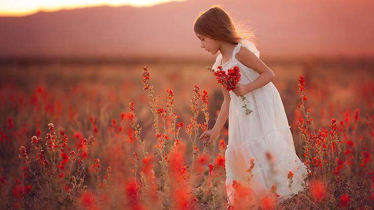 Kind-pflueckt-Blumen