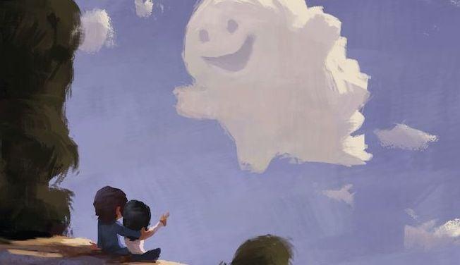 Kinder-sehen-heitere-Wolke