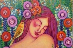 Liebe dich selbst - Frau zwischen Blumen und Vögeln