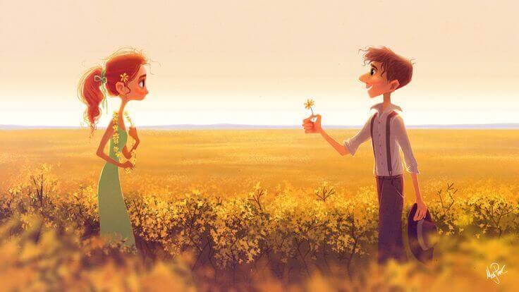 Mann-gibt-einer-Frau-eine-Blume