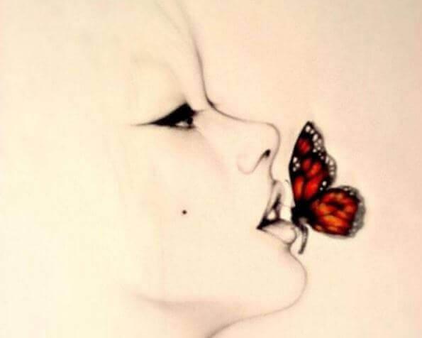 Schmetterling-auf-Lippe