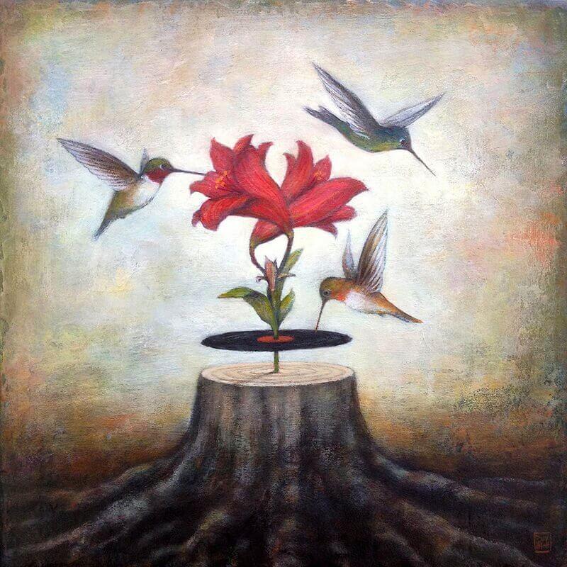 Voegel-fliegen-um-Blume-herum