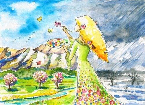 Frau geht ihrer Leidenschaft nach und malt