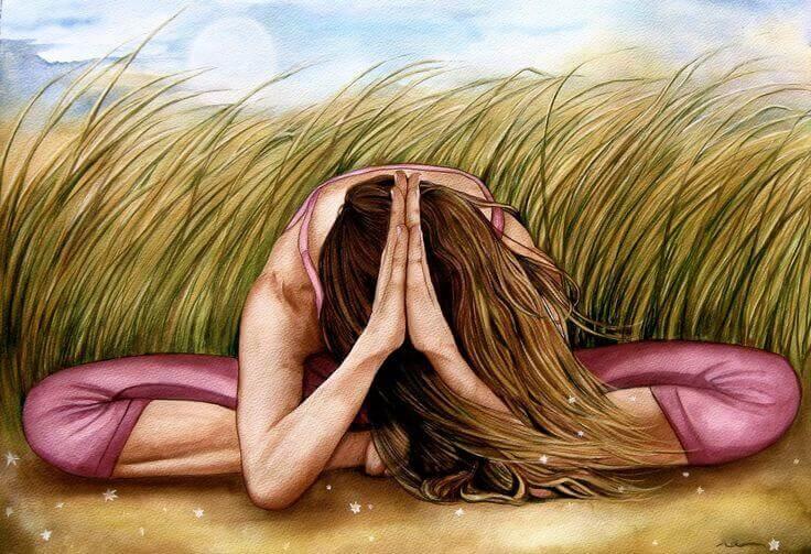 erfolgreiche Frau macht Yoga