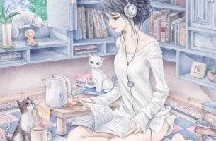 Frau verbringt Zeit mit ihren Tieren, liest, hört Musik und trinkt Tee