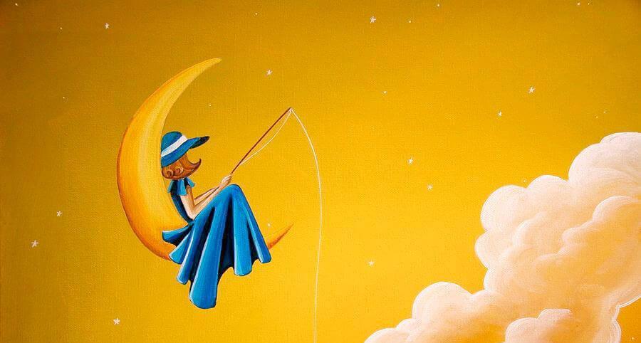 Auf dem Mond angeln und warten
