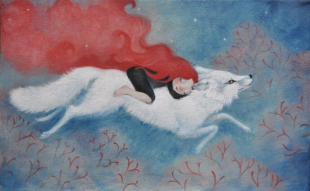 Frau mit Wolf
