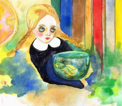Mädchen mit Aquarium