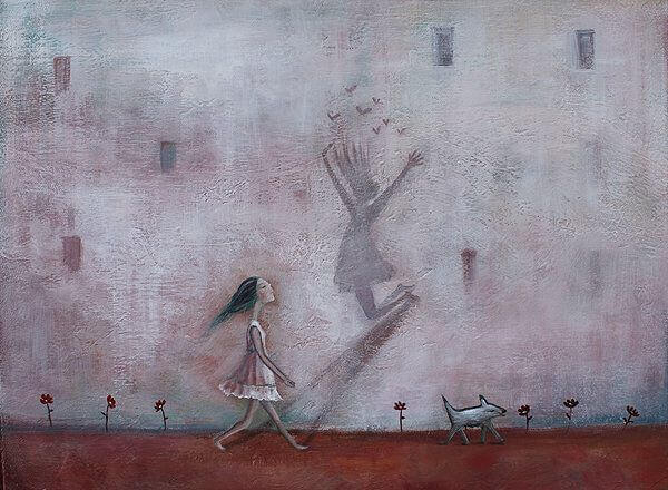 Maedchen mit Schatten an der Wand