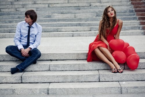 Paar auf Treppe