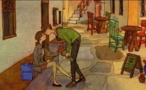 Paar kuesst sich auf Straße