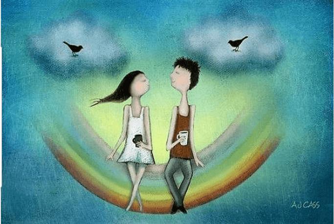 Paar sitzt auf Regenbogen