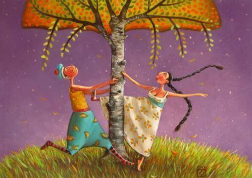 Paar tanzt unter einem Baum