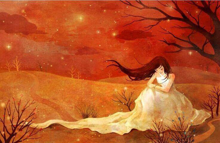 Rote-Landschaft-mit-Frau