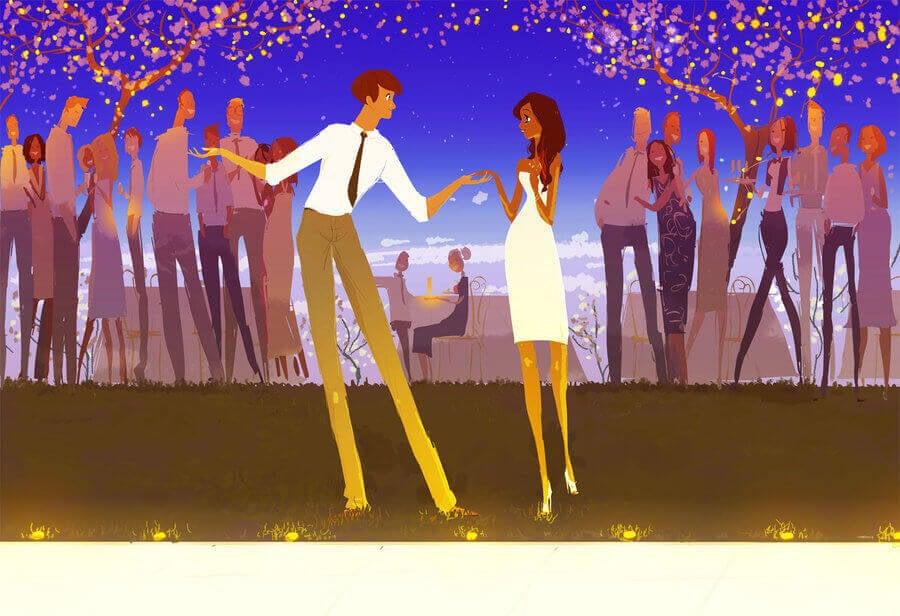 Mann bittet Frau um einen Tanz