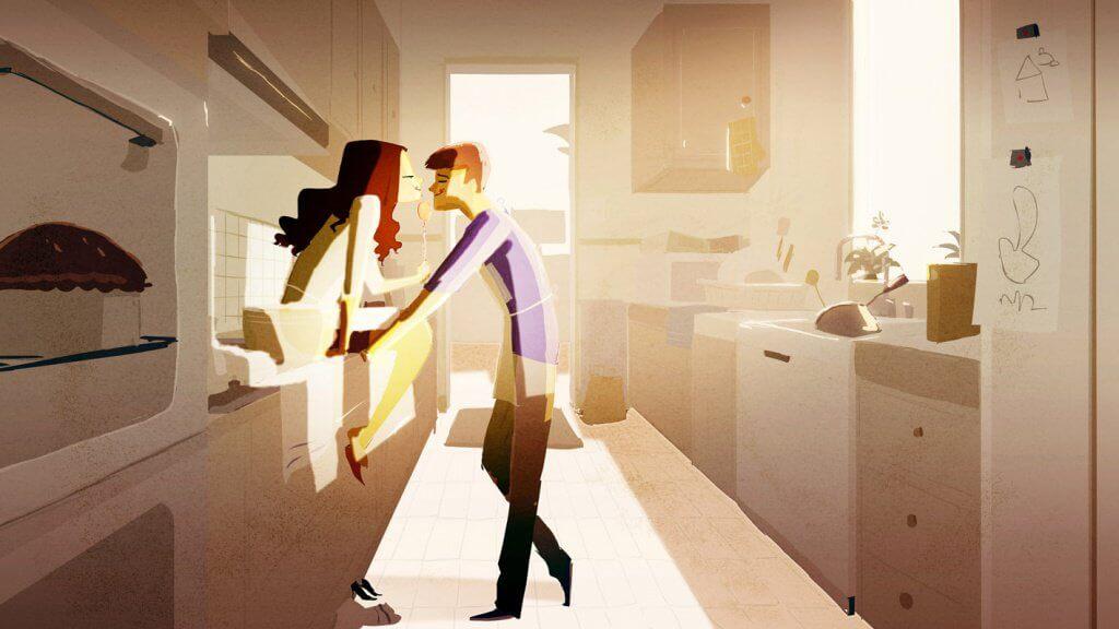 Paar in der Küche versteht sich mit Blicken