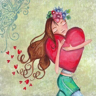 Liebe dich selbst - Mädchen trägt ein großes Herz in seinen Armen