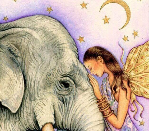 Frau fühlt mit einem Elefanten