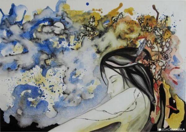Farbige Kleckse über dem Oberkörper einer Frau