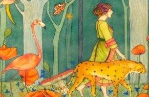 Frau läuft mit Tieren durch einen Wald