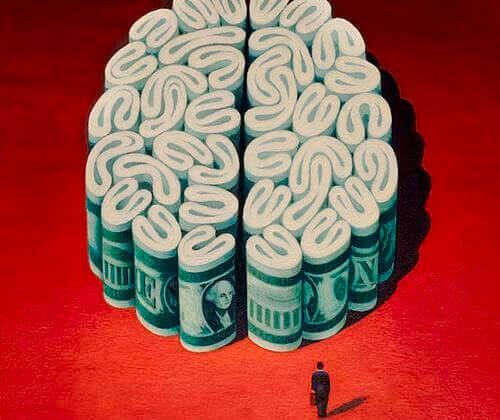 Geldrollen bilden ein Gehirn
