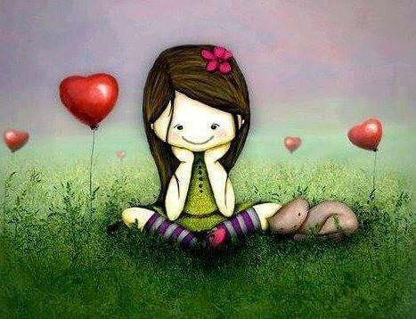 Herzluftballons und das Lachen eines Mädchens