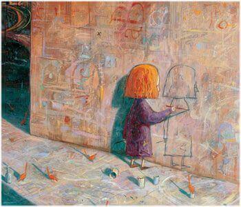 Kind spielt allein mit sich selbst