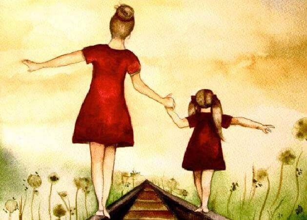 Mutter und Kind balancieren gemeinsam