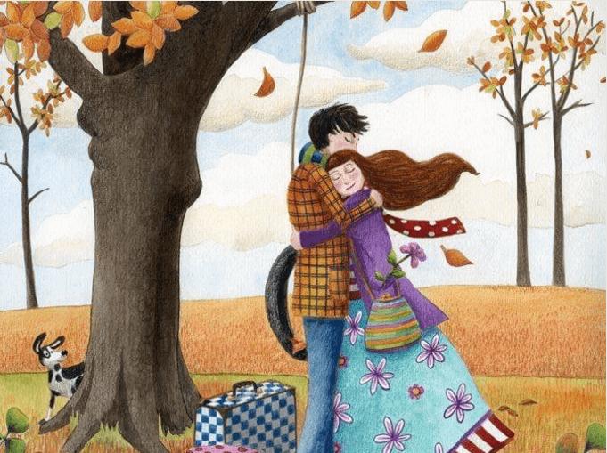 Vorteile von Umarmungen - Pärchen umarmt sich im Herbstwald