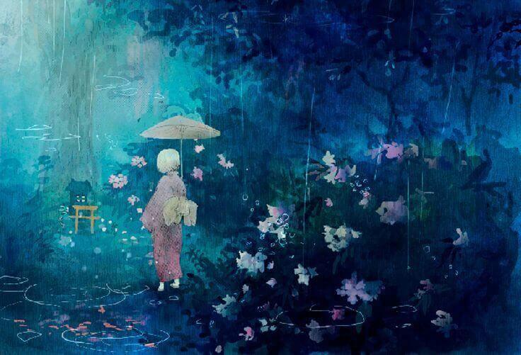 Mensch geht mit aufgespanntem Schirm durch den Regen