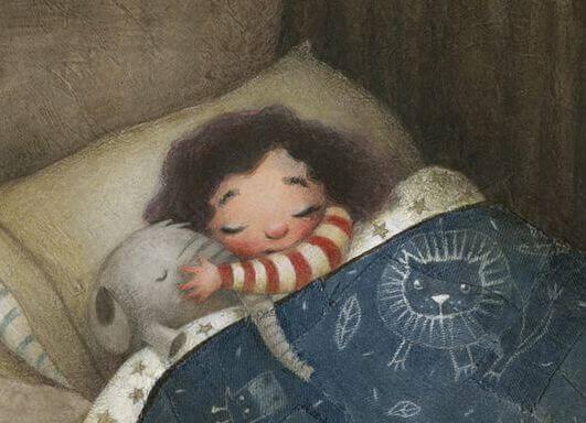 Schönste Kindheit - Kind schläft mit Kuscheltier im Bett