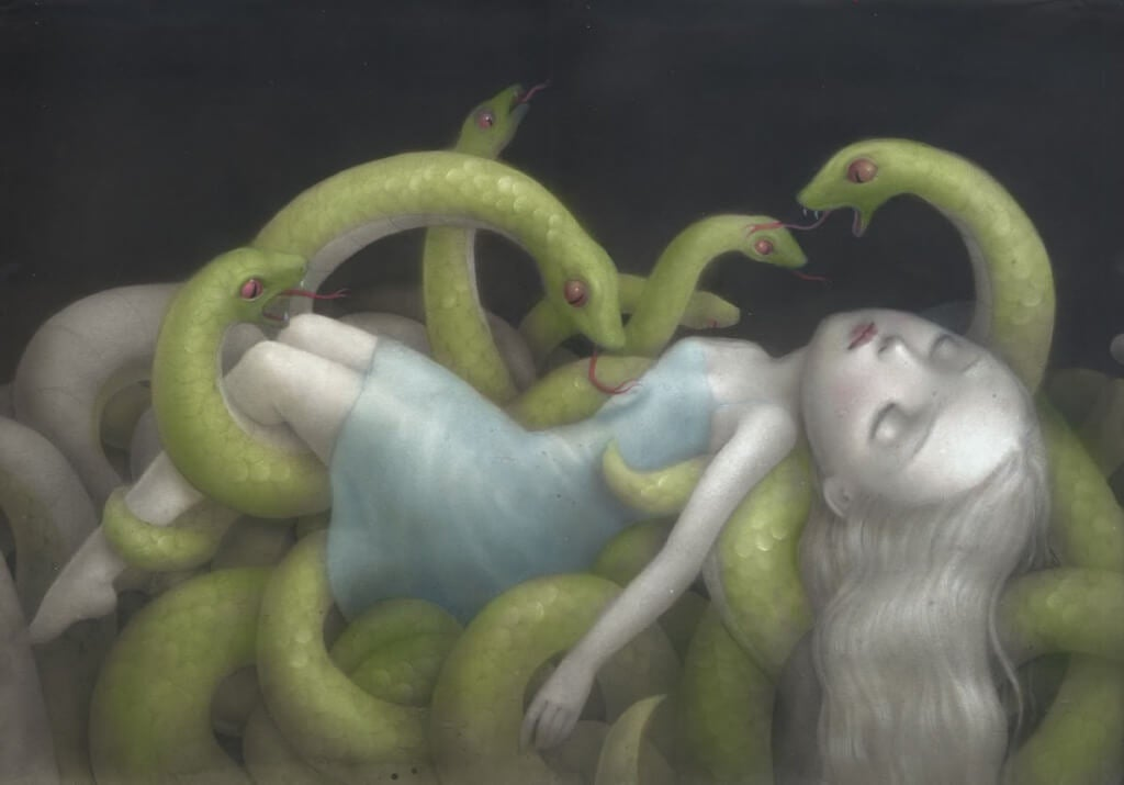 Schlangen bedrohen einen Menschen