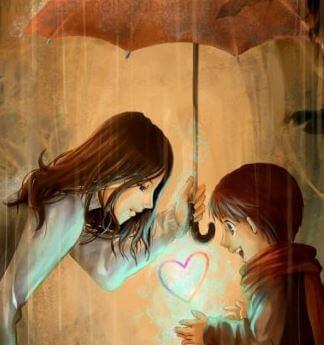 Mutter und Kind machen Entdeckungen unter dem Regenschirm