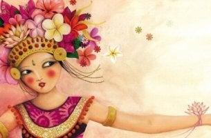 Eine tanzende Frau mit Blumen im Haar trägt die Sonne im Herzen