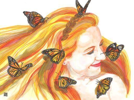 Frau mit Schmetterlingen weiß um ihren Wert