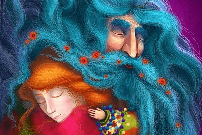Großeltern, die sich um ihre Enkel kümmern - Opa mit blauem Bart beschützt Enkelin