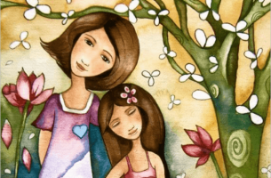 Dein Kind folgt deinem Beispiel - Mutter und Tochter in Frühlingskulisse