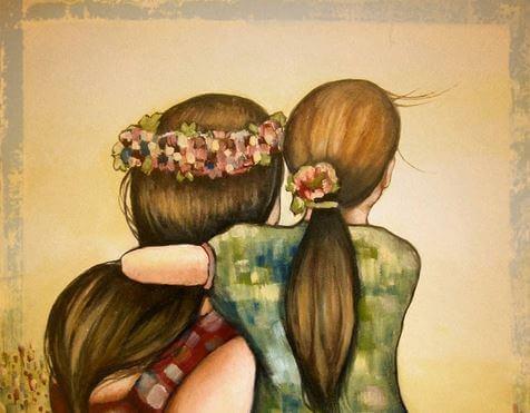 Mutter und Tochter schauen in die Ferne
