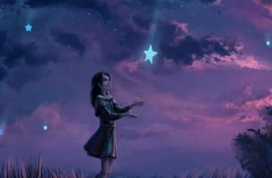 Mädchen fängt einen Stern