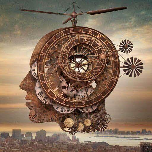 Uhrwerk im Kopf eines Menschen