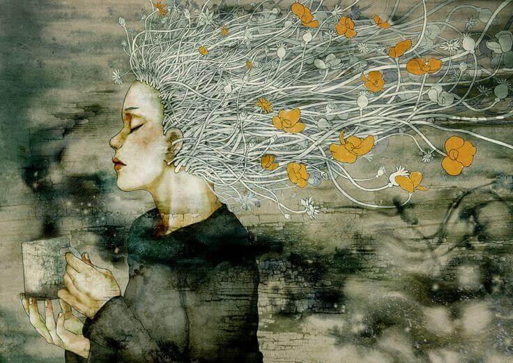 Frau mit Blumenhaar und Tasse in der Hand