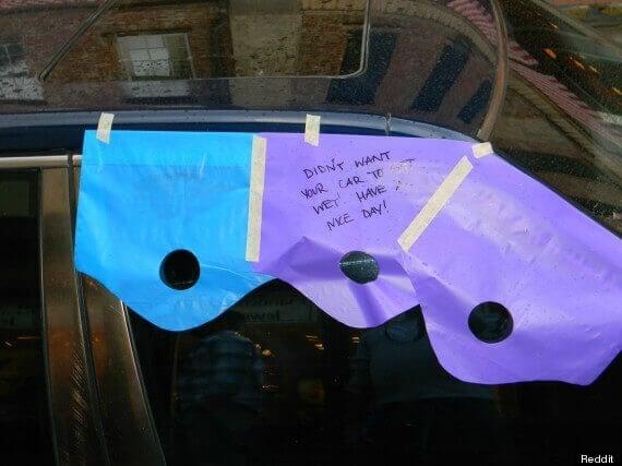 Fenster des Autos offen gelassen und geschützt