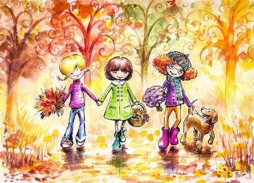 Drei Frauen mit Hund im Wald