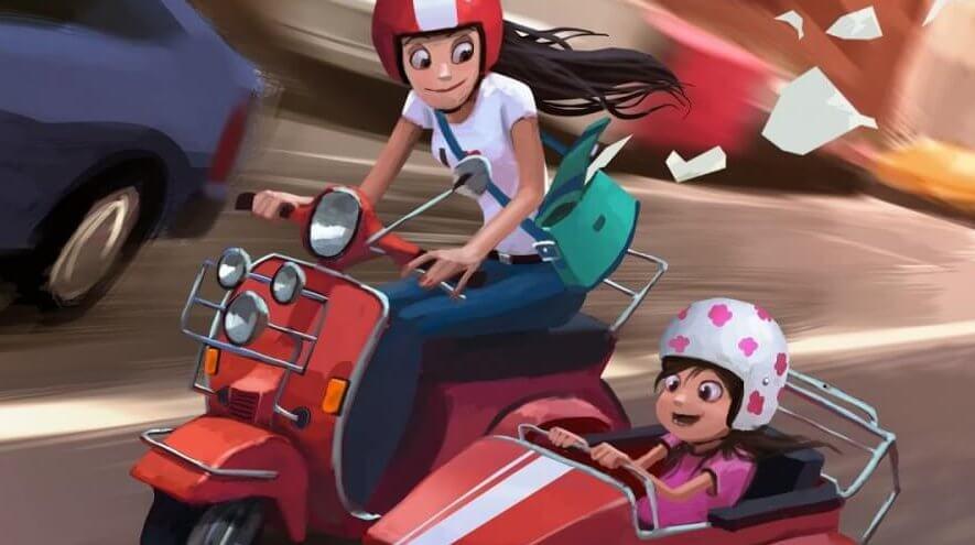 Mutter und Tochter fahren Motorrad