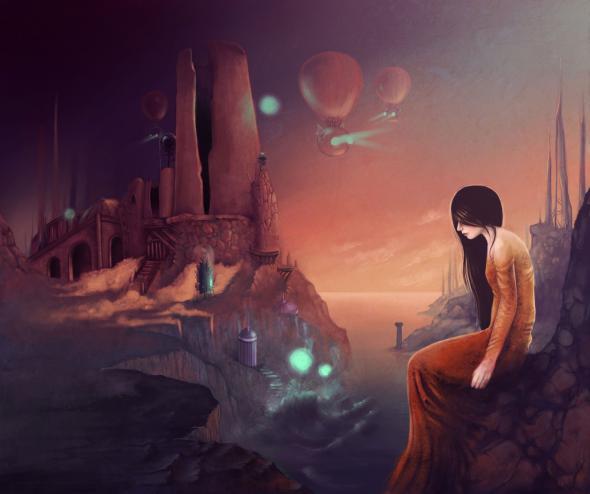 Frau vor einem Felsenschloss der Fantasie