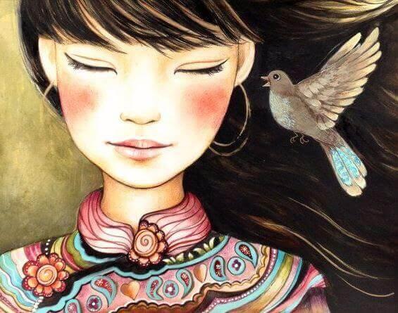 Frau mit einem Vogel am Ohr