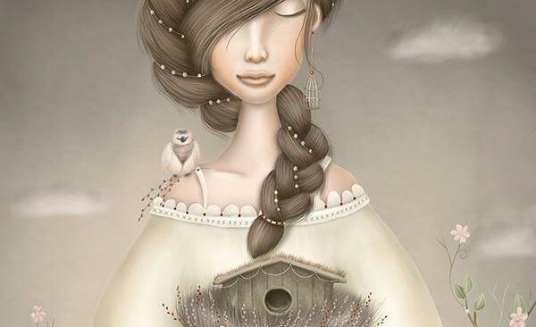 Frau mit Vogelhäuschen