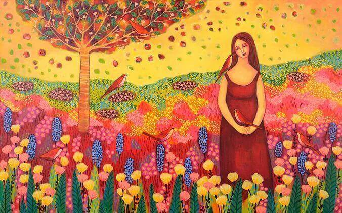 Frau auf Blumenwiese