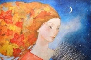 Frau in der Nacht mit Blättern als Haar