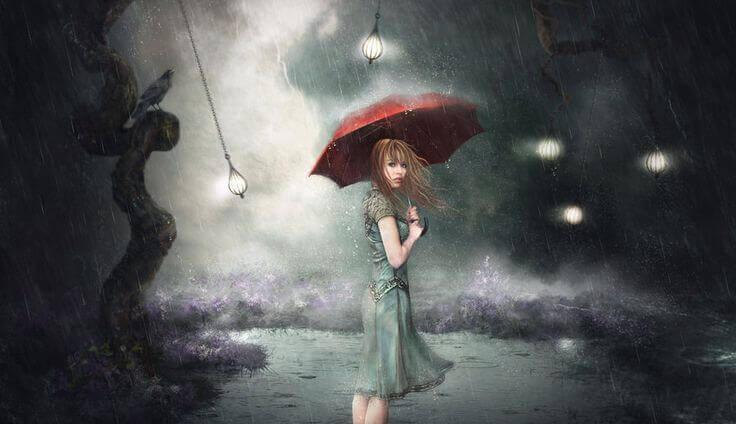 Frau begibt sich unter einem Regenschirm in die stürmische Nacht, weil sie sich nicht wertgeschätzt fühlt